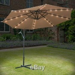 3m Led Banana Overhanging Solar Lights Parasol Umbrella Patio Garden Sunshade
