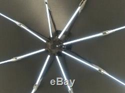 3m Round Cantilever Garden Parasol With free cover and LED solar Lights