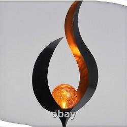 3pcs Shape Orange Solar Powered Globe LED Outdoor Garden Lights Black Post Set