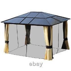 3x3.6M Aluminum Garden Gazebo Tent with LED Solar Light, Side Net Outdoor Sunshade