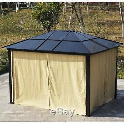 3x3.6m Garden Gazebo Tent with LED Solar Light Wedding Party Sunshade