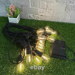 48ft 15 Hanging Sockets (Inc. Bulbs) Outdoor Festoon String Lights Garden Street
