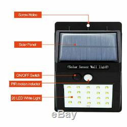 4X 20LED Solar Sensor Flood Lights Wall Outdoor Garden Path Fence Lamp Security