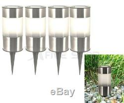 4/8 Outdoor Led Solar Power Lights Stainless Steel Cylinder Path Driveway Garden