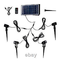 4 High Power Garden Solar Spot Lights Warm White LED IP65 Remote 24cm Lights4fun