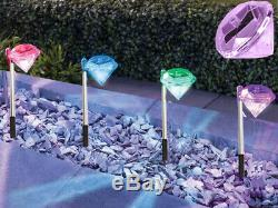 4 X Coloured Diamond Stake Lights Stainless Steel Solar Led Powered Garden Path