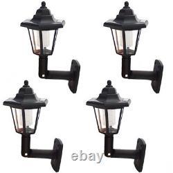 4 X Led Solar Powered Wall Lanterns Wall Light Lamp Outdoor Garden Patio Door