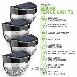 4x SUPER BRIGHT SOLAR POWERED DOOR FENCE WALL LIGHTS LED OUTDOOR GARDEN LIGHTING