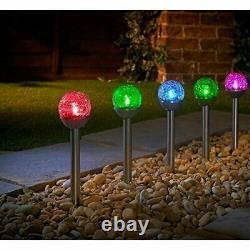 5 pack Solar Powered Crackle Ball Post Light Garden Outdoor Decoration