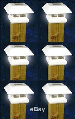 6 White New Outdoor Garden Solar Panel Post Deck Cap Light