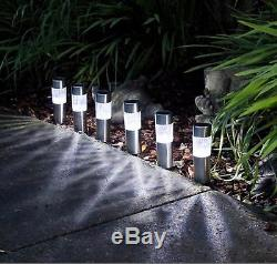 6 X Solar Powered Garden Lights Post Patio Outdoor Led Lighting Stainless Steel