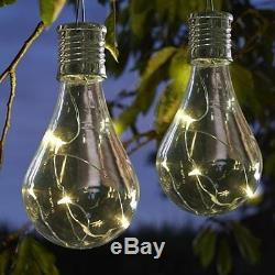 6 X Solar Powered Hanging Light Bulbs Solar Garden Lights / Clear