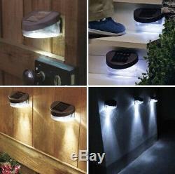 6 x SOLAR POWERED FENCE BLACK LIGHTS WALL DOOR STEP LED LIGHT OUTDOOR GARDEN