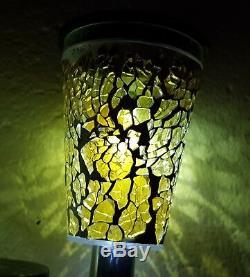 6pk Mini Solar Power Stainless Steel Mosaic Outdoor Colour Led Garden Light Lamp