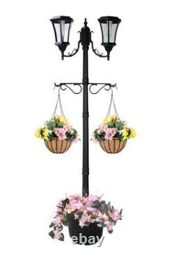 7.25 ft (87 in) Tall Solar Lamp Post with Plant Hangers-2 Heads, White LEDs, Black
