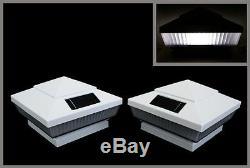 8-PACK 4x4 GARDEN SOLAR WHITE POST DECK CAPS LIGHTS (Assorted LED Light Colors)