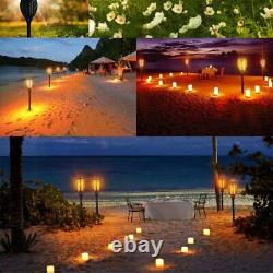 8 Pack 96 LED Flame Solar Torch Flickering Warm Outdoor Dancing Path Garden Lamp