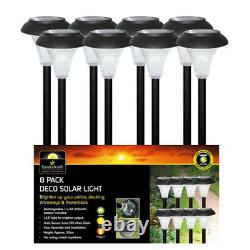 8 Pack Rechargeable Solar Led Garden Post Pathway Lights For Outdoor Lighting