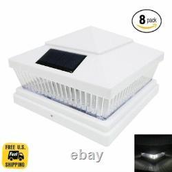 8-Pack White 5x5 or 6x6 PVC Garden Solar Post Deck Cap Square Fence 5LED Lights