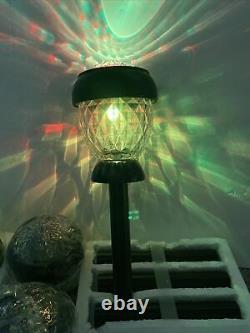 8 Solithia Solar Crystal Garden Sidewalk Pathway Color Change Light Glass Metal
