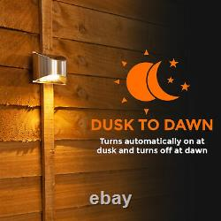 8 X LED Solar Power Garden Fence Wall Light Decking outdoor Patio Security Lamp