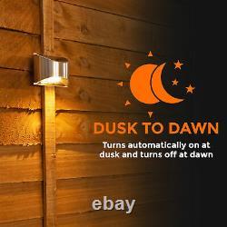 8 X LED Solar Power Garden Fence Wall Light Decking outdoor Patio Security Warm