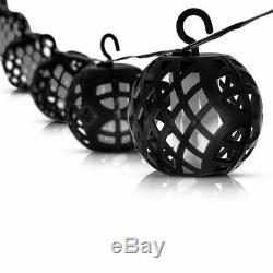 8 X Solar Rattan Ball Flame Effect LED String Hanging LIght Garden Lantern Patio