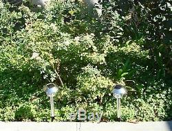 8 x Stainless Steel Color Changing White LED Solar Garden Stake Light