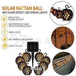 8pc Solar Rattan Ball Flame Effect LED String Bright Light Garden Lantern Patio