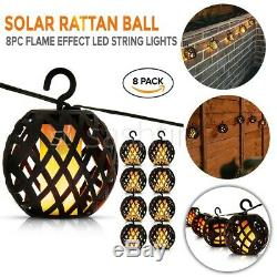 8pc Solar Rattan Ball Flame Effect LED String Hanging LIght Garden Lantern Patio
