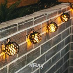 8pc Solar Rattan Ball Flame Effect LED String Hanging LIght Garden Lantern Patio