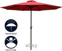 9FT Garden Parasol 8 Ribs Solar Powered Patio Outdoor Umbrella w Led Light