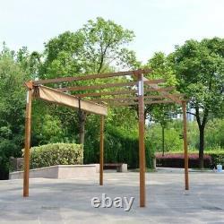ALEKO Garden Yard Outdoor Retractable Pergola with Solar LED light 10x13 ft Sand