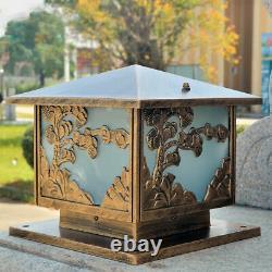 Antique Pillar Light Glass Lantern Garden Lighting Outdoor Yard Gate Post Lamp