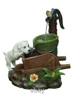 Aqua Creations Solar Dog on Wheelbarrow Water Feature With LED Lights