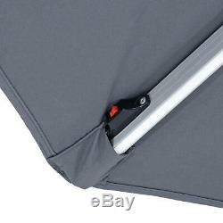 Azuma LED Parasol 3m Solar Power Strip Lights Round Garden Umbrella Crank Grey