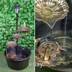 Barrel & Lotus Outdoor Garden Fountain Water Feature with Solar Powered LED Light