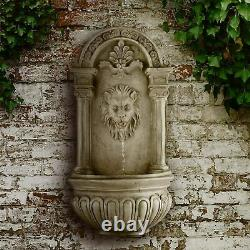 Blumfeldt Wall Garden Fountain Lion Solar LED Lighting Polyresin, Natural Stone
