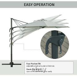 Cantilever Garden Umbrella Crank-Lift Banana Parasol Shade LED Solar Lights Grey