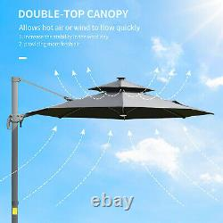 Cantilever Garden Umbrella Double Rotating Canopy Parasol Solar LED Lights Grey