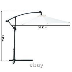 Cantilever Garden Umbrella with Solar LED Lights Patio Parasol Canopy Shade White