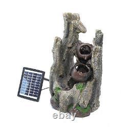 Cascading Fountain Garden LED Water Feature Outdoor Mountain Statue Solar Power