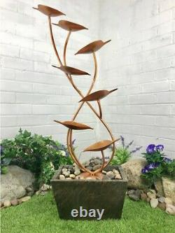 Cheshire Leaves Cascade Solar Powered Water Feature With LED Lights By Aqua Moda