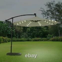 Croft 3M Cream Overhang Solar LED Garden Parasol Garden Outdoor Furniture
