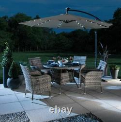 Croft 3M Grey Overhang Solar LED Garden Parasol