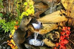 Curious Otters Traditional Water Feature Solar Powered, garden feature with led