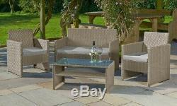 Four-Piece Rattan-Effect Garden Lounge Set and Garden LED Solar Parasol 3m