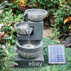 Freestanding Garden Falls Fountain Solar Powered Water Feature with LED Light
