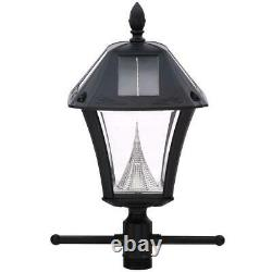GAMA SONIC Baytown II Bulb Black Resin Solar Warm-LED Post Light & Anchor Base