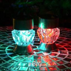 GardenKraft Garden Outdoor 2-in-1 Stainless Steel Solar Post & Table LED Lights